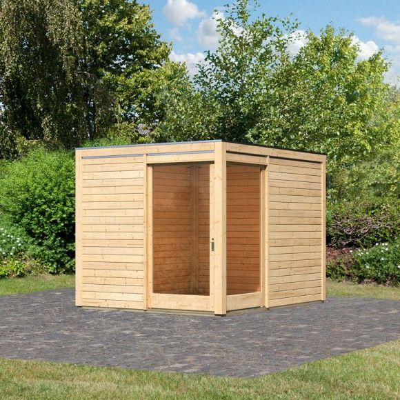 Karibu Flachdach Gartenhaus Cubus Eck 28 mm (Inkl. Fußboden, 2 Dachanbauten, Terrassendielen und H-Pfostenanker - gegen Aufpreis erhältlich)