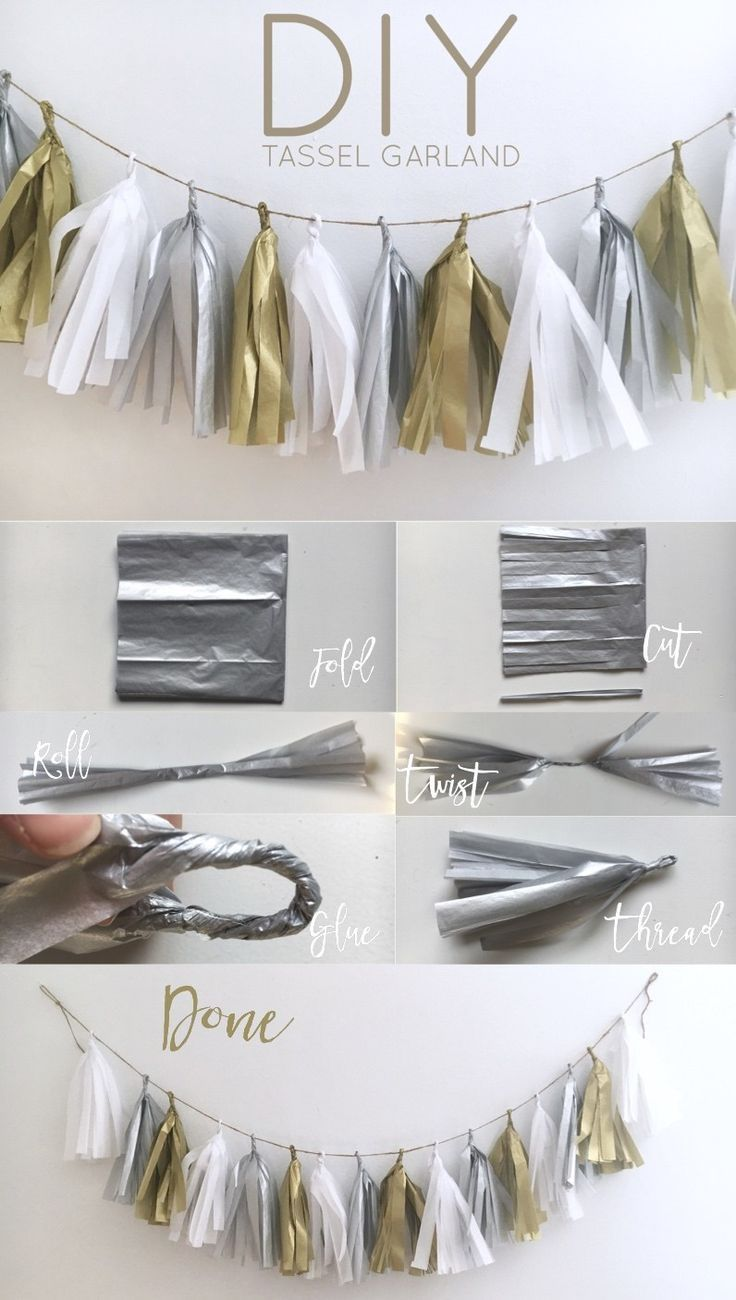 DIY Tassel Garland. We love this silver & gold diy decoration for an adult birthday party!