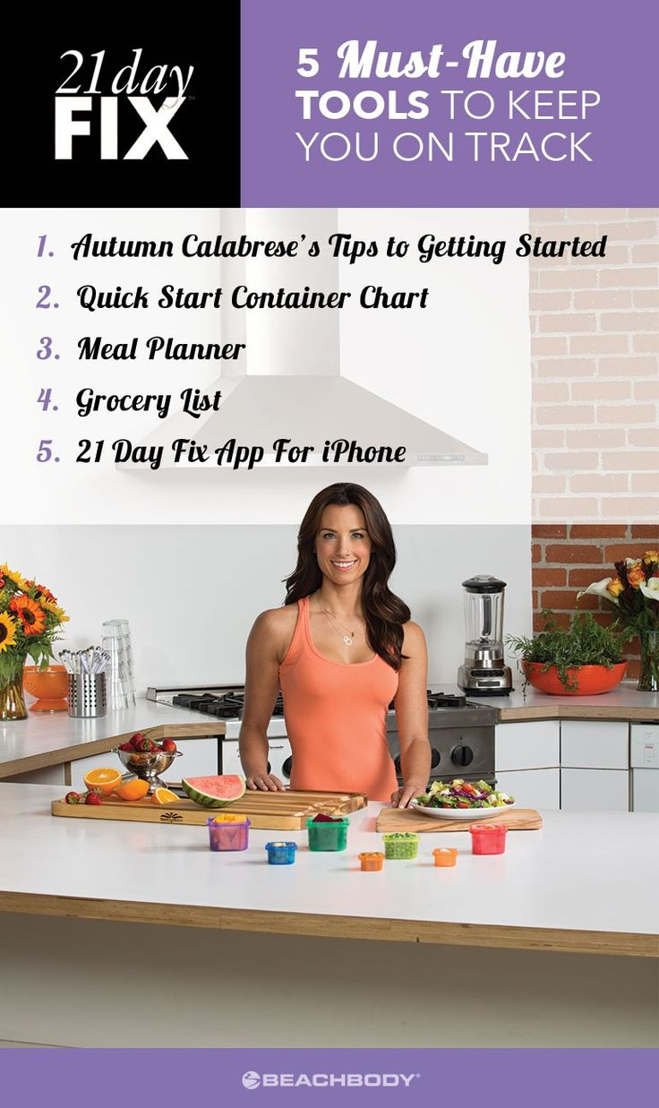Staying on top of your health and fitness goals can be hard. Stay organized and top of your game with these calendars, containers, tips, and tools for 21 Day Fix.  Autumn Calabrese // meal planning // meal prep // 21 Day Fix recipes // lose weight fast // Beachbody // Beachbody Blog