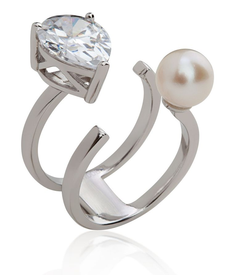 Arya Collection 2 rows 925 sterling silver ring with white pearl