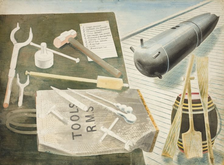 Eric Ravilious, Bomb Diffusing Equipment, c.1940, Watercolour and pencil on paper, Private collection, on long term loan to Towner, Eastbourne.