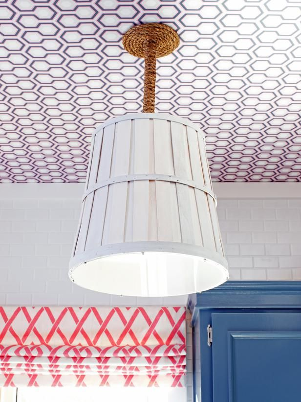 Designer MacGyver: 5 Brilliant Basket Ideas and Crafts (http://blog.hgtv.com/design/2014/07/28/basket-ideas-and-crafts/?soc=pinterest): Lights, Diy Ideas, Light Fixtures, Ceiling, Baskets, Repurposed