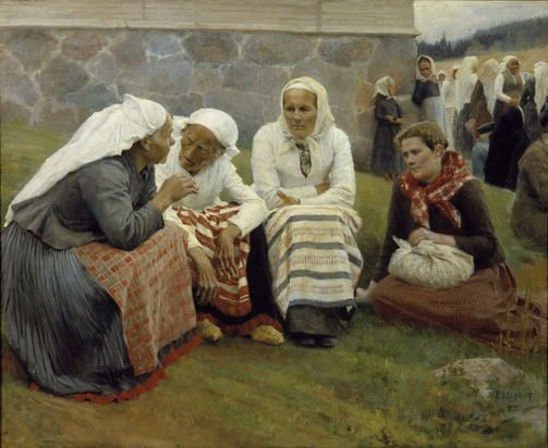 Albert Edelfet: Ruokolahden eukkoja kirkonmäellä 1887