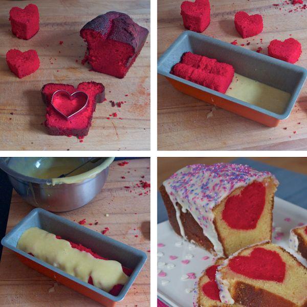 Happy Valentines day! Cake cœur caché vanille huile dolive photo