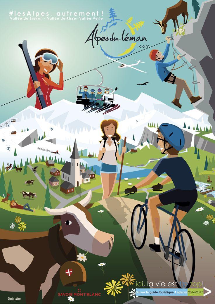 Les activités hiver/été des Alpes du Léman croquées par Charlie Adam #Làoh