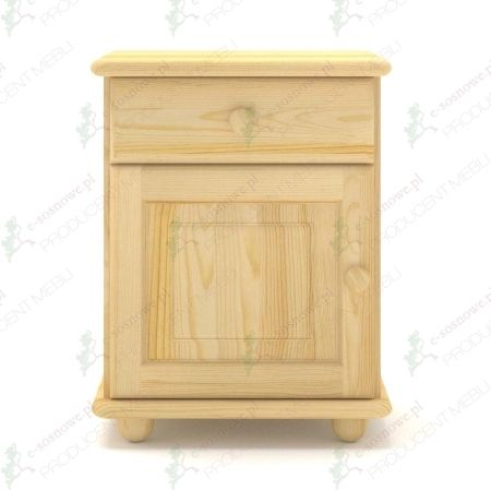Klasyczna szafka nocna sosnowa SN01 wyposażona w szufladę oraz drzwiczki wykonana z litego drewna sosnowego.