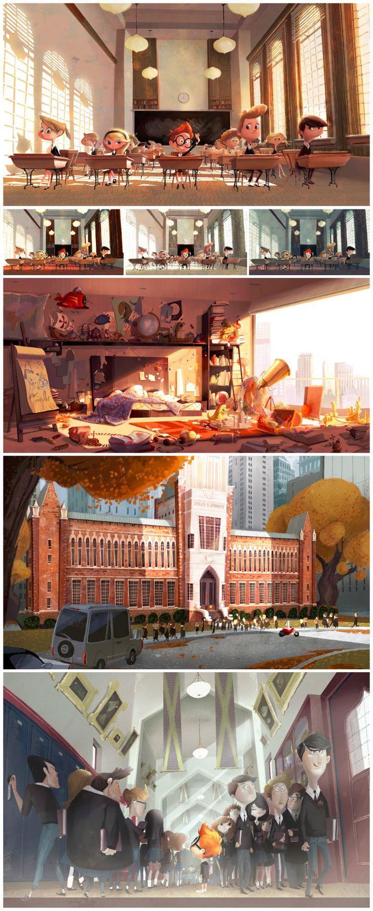 LAYOUT/ESPACIALIDADE: camadas, luzes e transparências criam espacialidade, equilibrando entre o quadro e o campo  Priscilla Wong - Mr. Peabody & Sherman concept art