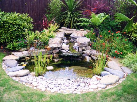 natural small garden ponds    12Natural pond is one of great small garden ponds ideas. You can make it by using PVC lining and place it with some rocks around it and decorate with water plants. In order to beautify it, you can raise some fish in it, such as goldfish or Koi.          another image for Three Small Garden Ponds with Natural Look