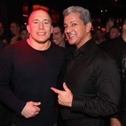 Georges St. Pierre and Bruce Buffer at Tryst Nightclub in Las Vegas.