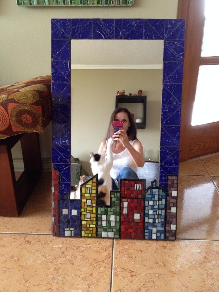 Espejo Valparaiso, hecho en teselas y ceramicos