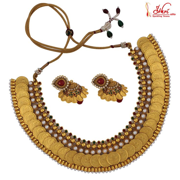 Traditional Ruby Emerald Lakshmi Coin Necklace Set