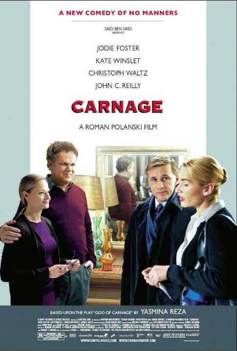 Carnage (2011).  I'd watch Jodie Foster do anything and feel the same about Kate Winslet, so when I saw a film with both of them listed, I was intrigued.  This is an adaptation from a play and has that very tight feel of an ensemble cast and one set.....it's all dialog.  I really enjoyed and Christoph Waltz, who I loved in Inglorious Basterds was so fun to watch.  Not for everyone, but if you want a short, thoughtful film, that is a bit of a dark comedy, here it is.