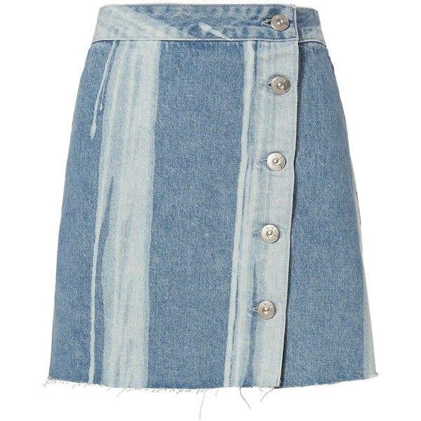 3X1 Women's Higher Ground Denim Mini Skirt ($245) ❤ liked on Polyvore featuring skirts, mini skirts, denim, denim miniskirt, asymmetrical mini skirt, mini skirt, button front denim skirt and denim skirt