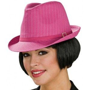 Chapeau Borsalino pink femme avec bijou strass, Chapeau Borsalino fuchsia pinstripe fedora luxe