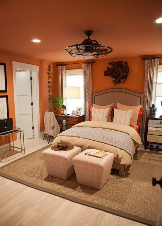 Warm Orange Bedroom Decorating Ideas For Modern House