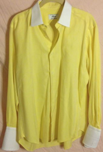 Contrast Collar BRIONI French Cuff Dress Shirt YELLOW Button Front EUC N. Marcus