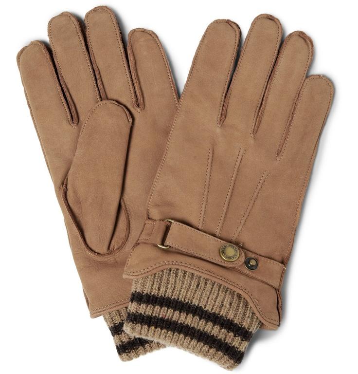 DentsKnitted-Cuff Nubuck Leather Gloves|MR PORTER
