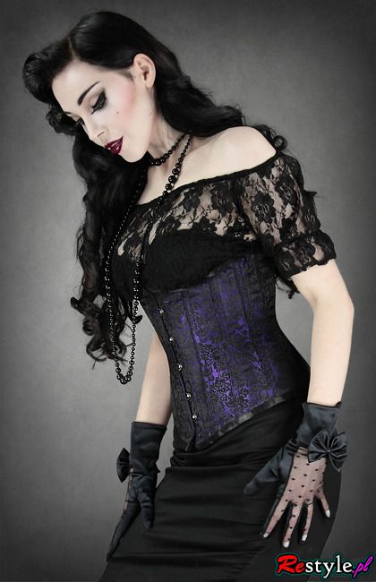 Purple and black underbust is truly beautiful, so is her make up