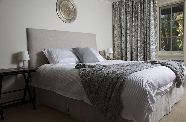 Plain linen bedhead- custom made by Rainsfords Adelaide