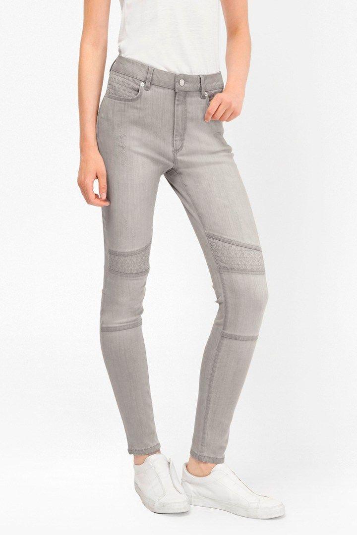 "<ul> <li> Mid-rise skinny jeans in high-stretch fabric</li> <li> Premium-quality fabric with shape retention power</li> <li> Fly zip</li> <li> Embroidered stitch panels at knees and pocket</li> <li> Skinny fit</li> <li> UK size 10 inseam length is 76cm</li> </ul>  <strong>Our model is 5ft 10"" and is wearing a UK size 10. </strong>"