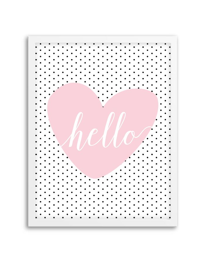 Download and print this free Hello Polka Dot Heart wall art for your home or office! Directions: Unlock the files. Once you unlock the files (by sharing, liking, following), the download buttons will appear. Click the download button below to download the PDF file. Press print. PERMITTED USE: This file is for personal use only. If...