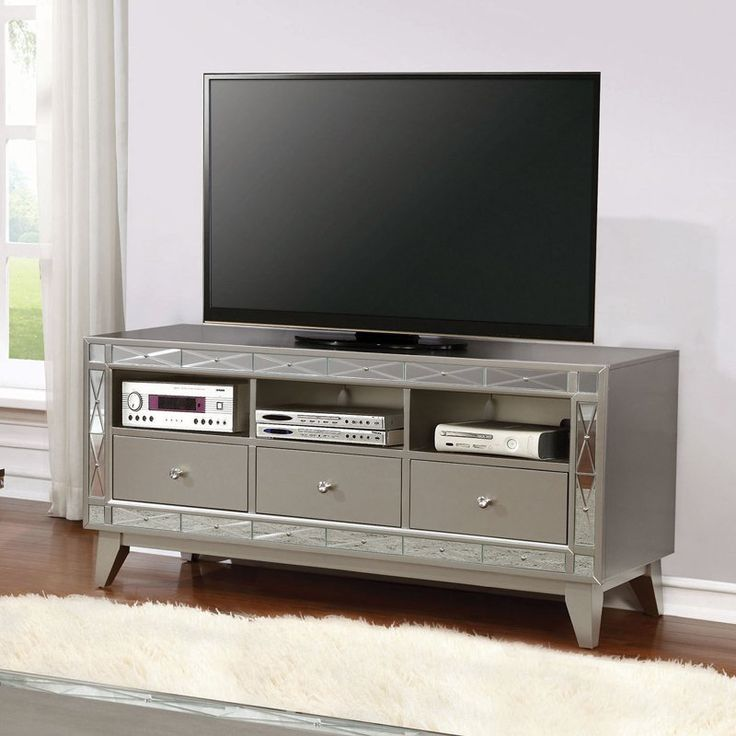 Coaster Furniture Silver TV Stand with 3 Drawers - 701692