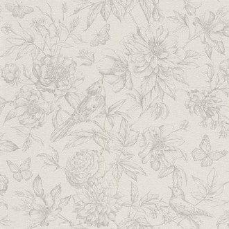 Tapet Florentine II - fugler og blomster - en fantastisk nydelig tapet - fiber bakside og vaskbar vinyl overflate. Perfekt for naturelskeren og ypperlig til kjøkkenet!