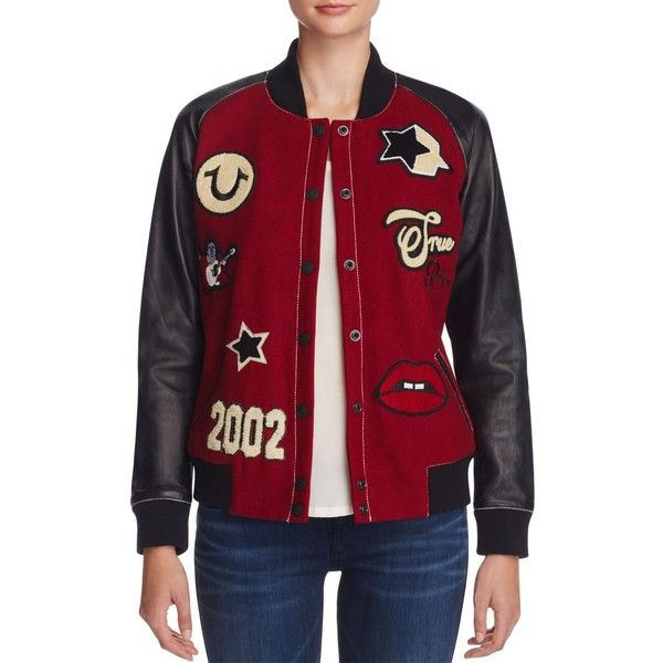True Religion Varsity Patch Jacket (3,810 GTQ) ❤ liked on Polyvore featuring outerwear, jackets, true religion, red varsity jacket, teddy jacket, red letterman jacket and patch jacket