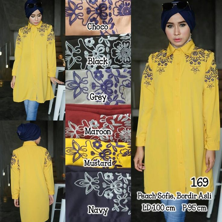 Ready A169 @75rb (KHUSUS GROSIR)  Bahan Peach Sofie  Seri 6 Warna  LD100 cm  P65 cm  Bordir Asli  ㅤ  New upload nih untuk reseller kesayanganku  konveksi busana muslim, wholesale yah sis......  Contact us for more detail  line : @ konveksi.hijab (pakai tanda @ yah)  WA : 0858 8342 5707   store location: PGMTA lantai LG blok B no.176  Menerima pembuatan model minimal 5 lusin yah sis untuk 1 model