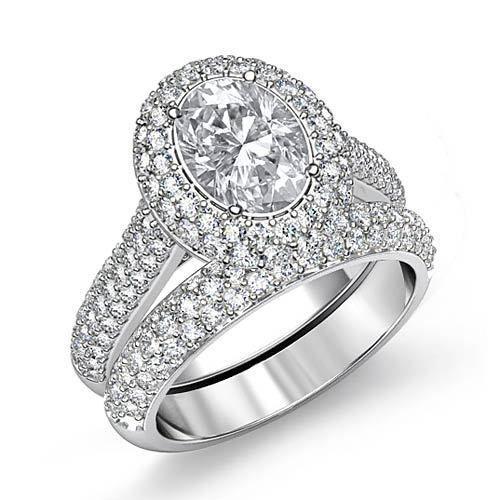 Oval-Diamond-Halo-Pave-Engagement-Ring-GIA-H-SI1-Bridal-Set-14k-White-Gold-4-ct