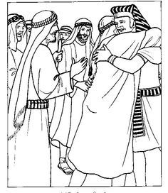 Joseph greets his brothers in Egypt. Bible coloring page