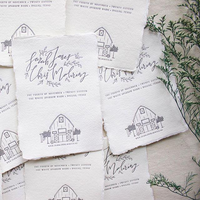 Lovely Letterpress Printed Handlettered Wedding Savethedates