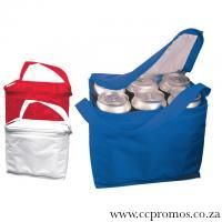 6 Can Nylon cooler bag with shoulder strap. www.ccpromos.co.za