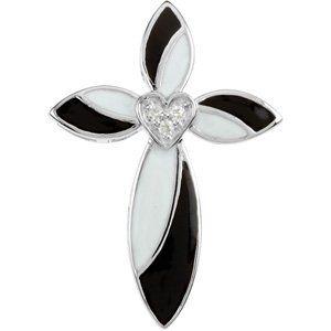 Black and White Enamel Diamond Cross Pendant « Dress Adds Everyday