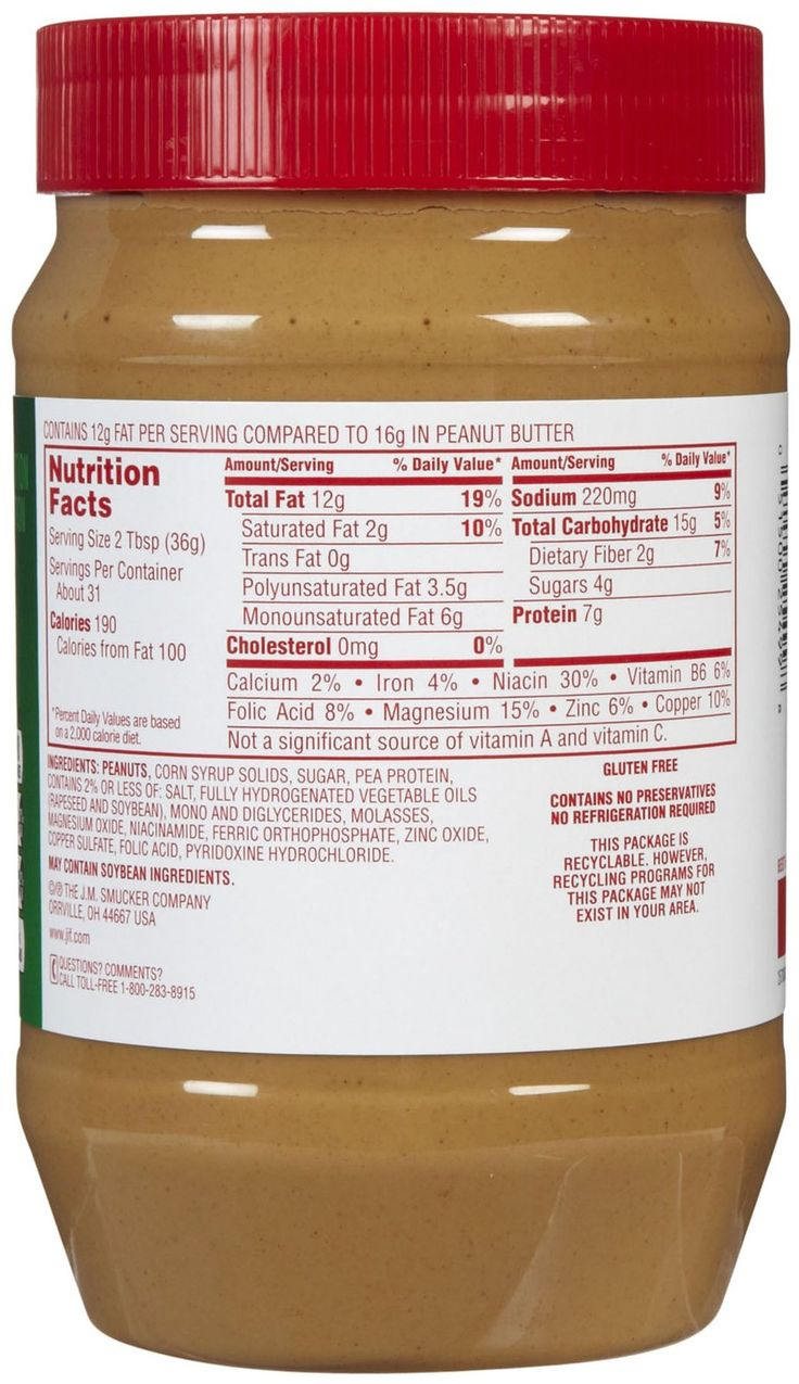 reduced fat jif peanut butter nutrition facts