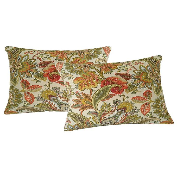 Metje Valbella Floral Indoor Outdoor 2-piece Reversible Oblong Throw Pillow Set, Multicolor