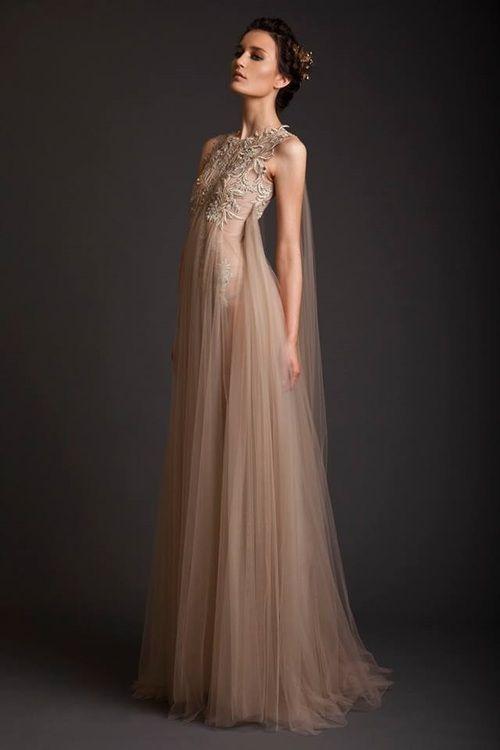 Nude coloured dress with floral embroidery detail - dream dress; elegant romantic fashion // Krikor Jabotian