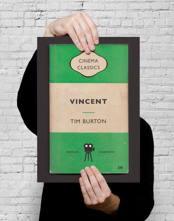 Cartel de película de pingüinos libros clásicos, Vincent de Tim Burton — alta calidad impresión de Giclee Ikea Ribba tamaño