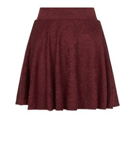 Teens Burgundy Flounce Lace Skater Skirt  | New Look