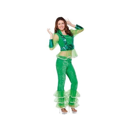 Disco kostuum groen voor dames. Dit groene disco kostuum voor dames bestaat uit het shirt en de broek.