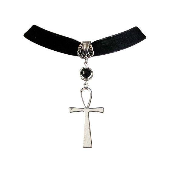 Gothic Choker, Ankh Necklace, Gothic Egyptian Jewelry, Mythical Necklace, Ankh Necklace, Classic Goth Choker, Classic Ankh Necklace