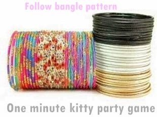 Hello, Today, I am sharing another interesting kitty party games played with bangles. Colorful bangles are our all time favorites, easily affordable and easily available at home. So not much things needed to arrange this game. All you have to do is get the bunch of bangles of different kinds.  This game is about noticing pattern of the bangles and arranging them in one minute following that pattern. So basically, In 1- minute make a fix sequence of bangles and win!