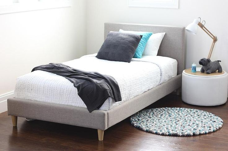 FRANKIE King Single Taupe Upholstered Bed