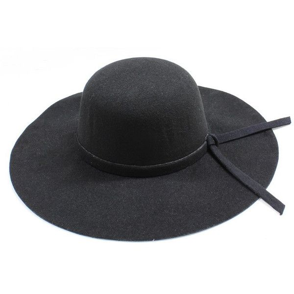 Broadway Sun Ben Trading Womens Wide Brim Black Floppy Felt Hat with... ($28) ❤ liked on Polyvore featuring accessories, hats, flop hat, felt hats, wide brim hat, felt floppy hat and floppy hats