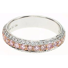 White and pink diamonds eternity ring