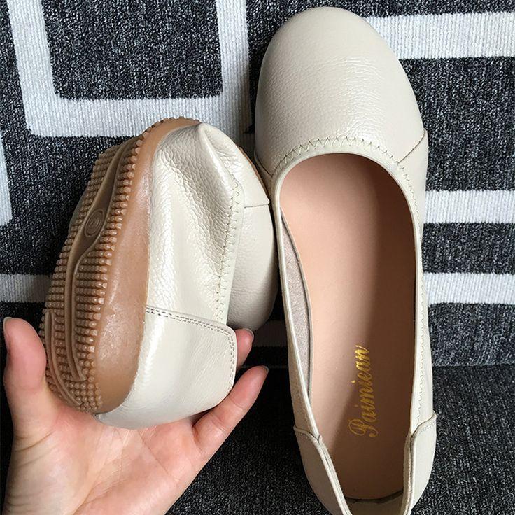 Barato Big tamanho 34 43 Genuína Mulheres de Couro sapatilhas, sapatos Casuais…