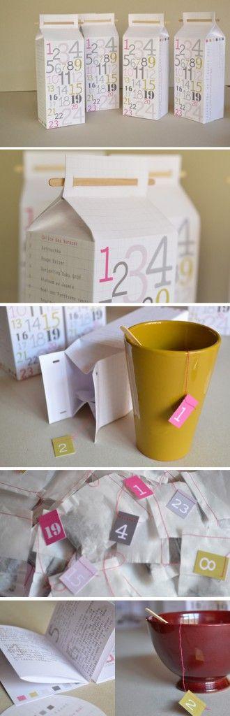 milk carton of teabags for advent calendar!
