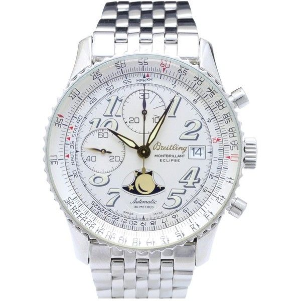 Pre-owned Breitling Watch ($4,500) ❤ liked on Polyvore featuring men's fashion, men's jewelry, men's watches, silver, mens watches, mens stainless steel watches, mens watches jewelry, pre owned mens rolex watches and breitling mens watches