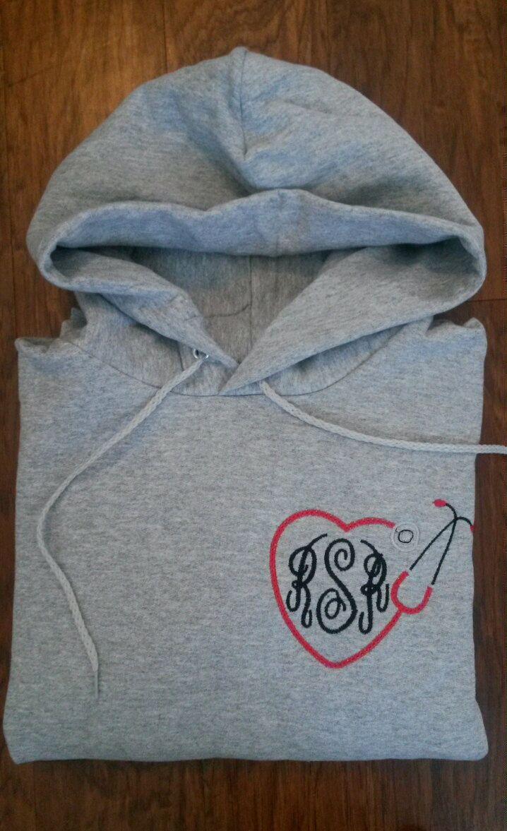 Monogrammed Nurse Hoodie Hooded Sweatshirt Embroidered