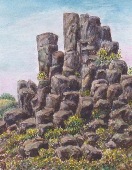 čedičová skalka na Hazmburku v Českém středohoří, akvarel Jana Haasová